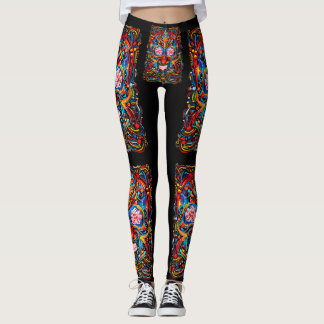 Painted Sugar Skull Dark Leggings