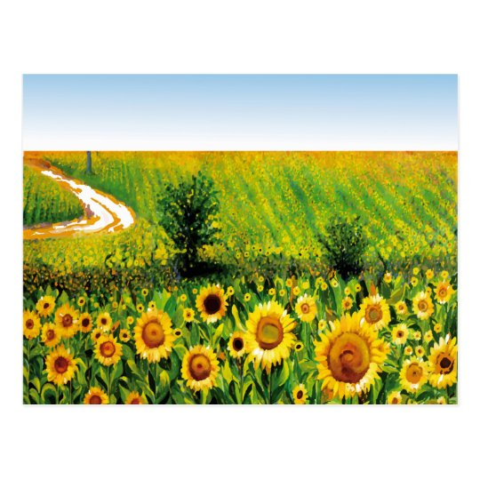 painted sunflowers postcard