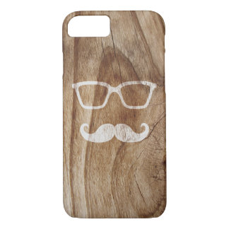 Painted Sunglasses and Moustache on Wood iPhone 7 Case