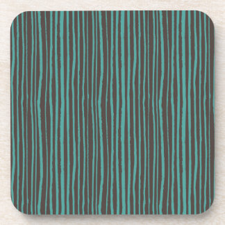 Painted Teal Stripes on Dark Brown Coaster