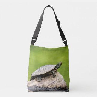 Painted Turtle on a log Crossbody Bag