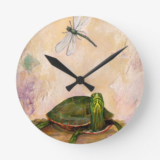 Painted Turtle Round Clock