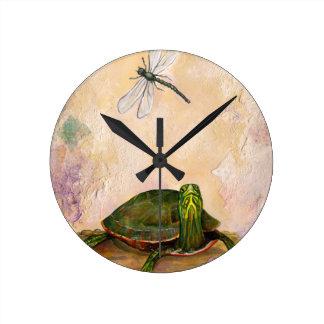 Painted Turtle Round Clock