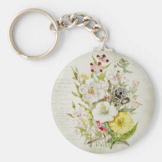 Painted Vintage Flower Bouquet Script 5 Basic Round Button Key Ring
