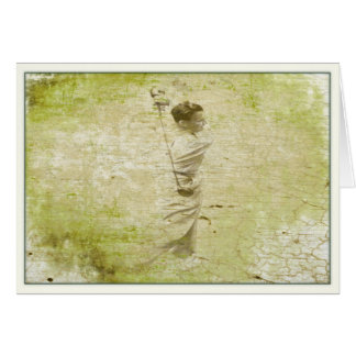 Painted Vintage Golfer in Full Swing Greeting Card