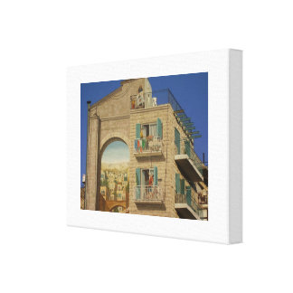 Painted wall of a house in Jerusalem Canvas Prints