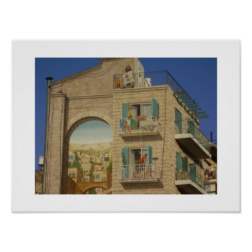 Painted wall of a house in Jerusalem Poster