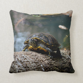 painted water turtle climbing log cushion