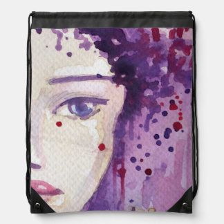 Painted Watercolor Background Drawstring Bag