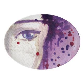 Painted Watercolor Background Porcelain Serving Platter