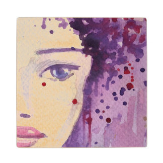 Painted Watercolor Background Wood Coaster