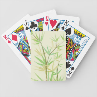 Painted watercolor card with wild stylized bicycle playing cards