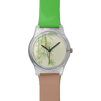 Painted watercolor card with wild stylized wrist watches