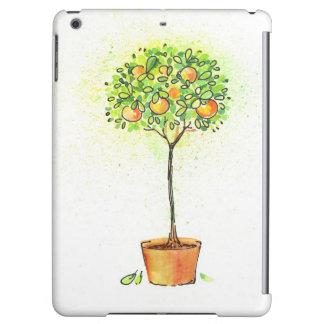 Painted watercolor citrus tree in pot