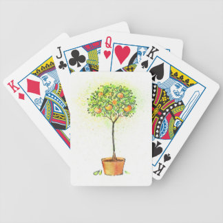 Painted watercolor citrus tree in pot bicycle playing cards