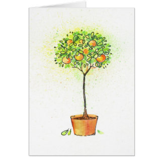 Painted watercolor citrus tree in pot card