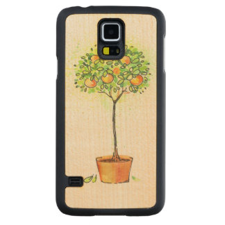 Painted watercolor citrus tree in pot carved maple galaxy s5 case