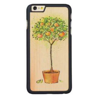 Painted watercolor citrus tree in pot carved maple iPhone 6 plus case