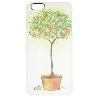 Painted watercolor citrus tree in pot clear iPhone 6 plus case