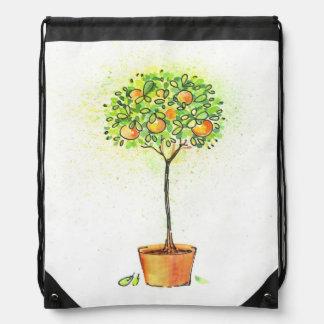 Painted watercolor citrus tree in pot drawstring bag
