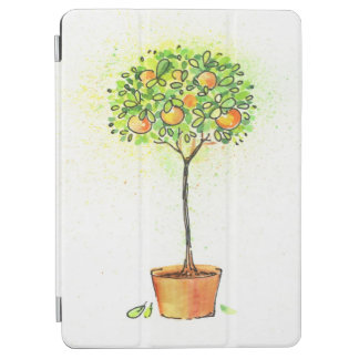 Painted watercolor citrus tree in pot iPad air cover