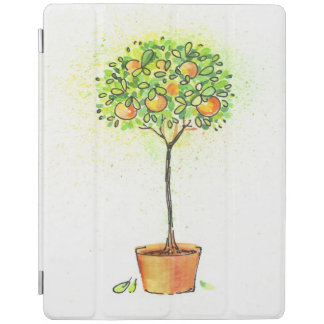 Painted watercolor citrus tree in pot iPad cover