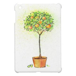 Painted watercolor citrus tree in pot iPad mini cover