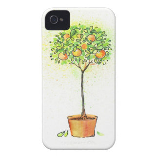 Painted watercolor citrus tree in pot iPhone 4 Case-Mate cases