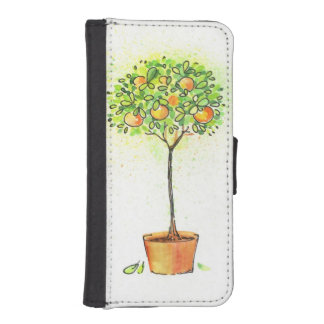 Painted watercolor citrus tree in pot iPhone SE/5/5s wallet case