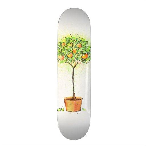 Painted watercolor citrus tree in pot skateboard decks