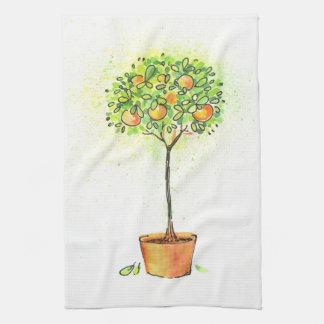 Painted watercolor citrus tree in pot tea towel