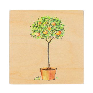 Painted watercolor citrus tree in pot wood coaster