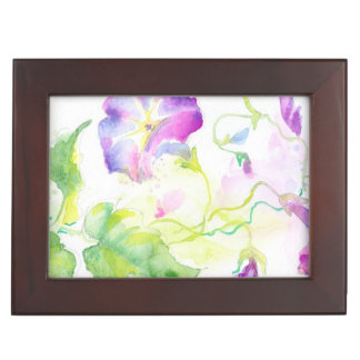 Painted watercolor convolvulus flowers keepsake box