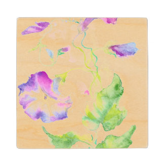 Painted watercolor convolvulus flowers wood coaster