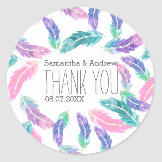 Painted watercolor feathers wedding Thank you Classic Round Sticker