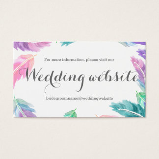 Painted watercolor feathers wedding website
