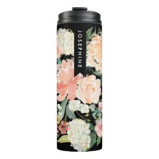 Painted Watercolor Floral Bouquet Personalized Thermal Tumbler