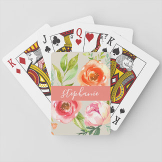 Painted Watercolor Floral Pattern Custom Name Playing Cards