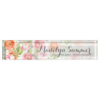 Painted Watercolor Flowers Calligraphy Name Nameplate