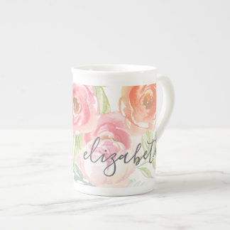 Painted Watercolor Flowers Calligraphy Name Tea Cup