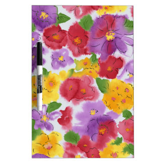 Painted Watercolor Flowers Dry Erase Board