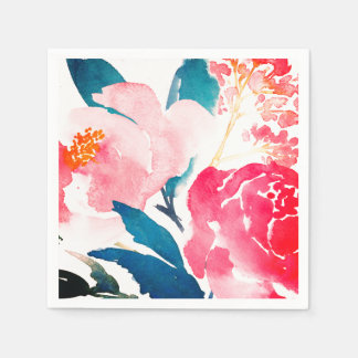 Painted Watercolor Napkin - Pink & Teal Paper Serviettes
