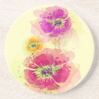 Painted watercolor poppies 2 beverage coaster