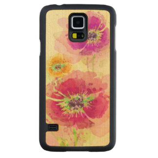 Painted watercolor poppies 2 carved maple galaxy s5 case