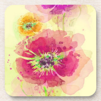 Painted watercolor poppies 2 coaster