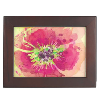 Painted watercolor poppies 2 keepsake box