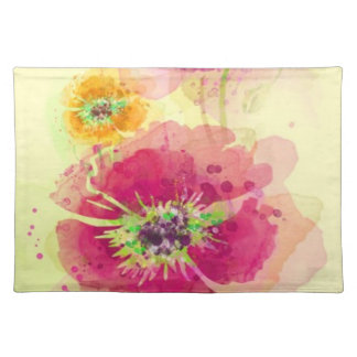 Painted watercolor poppies 2 placemat