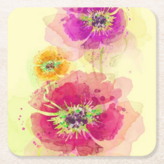 Painted watercolor poppies 2 square paper coaster