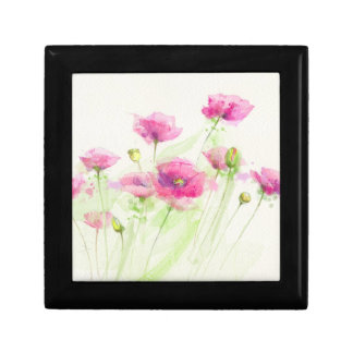 Painted watercolor poppies 3 gift box