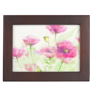Painted watercolor poppies 3 keepsake box